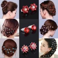 10pcs crystal wedding bridal hair pins flower clip hairpins headdress decoration fashion jewelry accessories