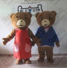 Famille Ted mascotte costumes dessin animé brun ours en peluche mascotte costumes long brun fourrure ours costumes