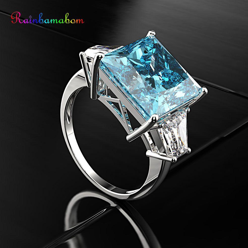 Rainbamabom Real sólida plata esterlina 925 Aqumarine gema compromiso boda pareja anillos Unisex joyería fina regalo al por mayor