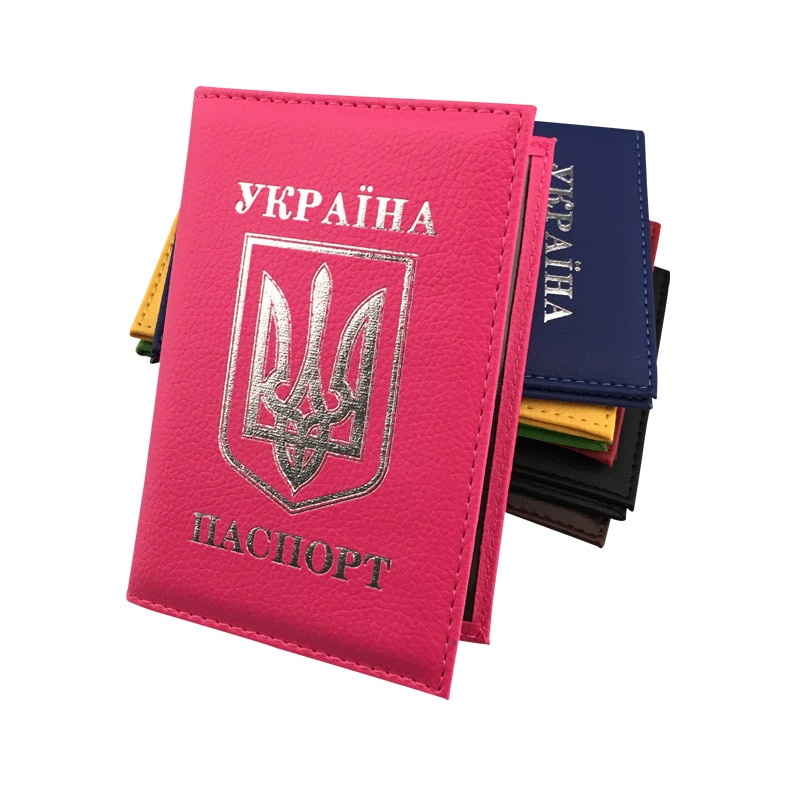 Zongshu newest Ukrainian passport holder case international  standard size Pink Blue PU leather passport cover