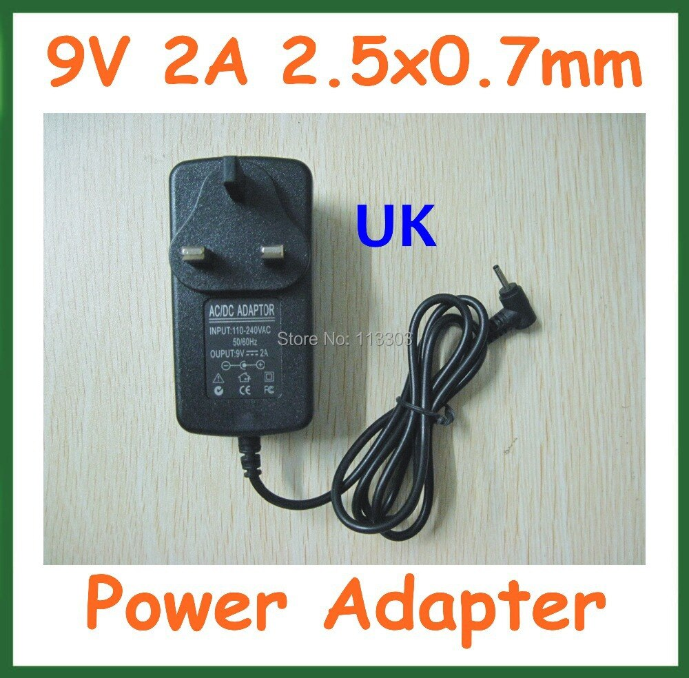 Review 50pcs Tablet Battery Charger UK 9V 2A 2.5mm 2.5×0.7mm for Tablet Aoson M19 Chuwi V3 Pipo M2 M3 M8 M8 3G Power Adapter Supply