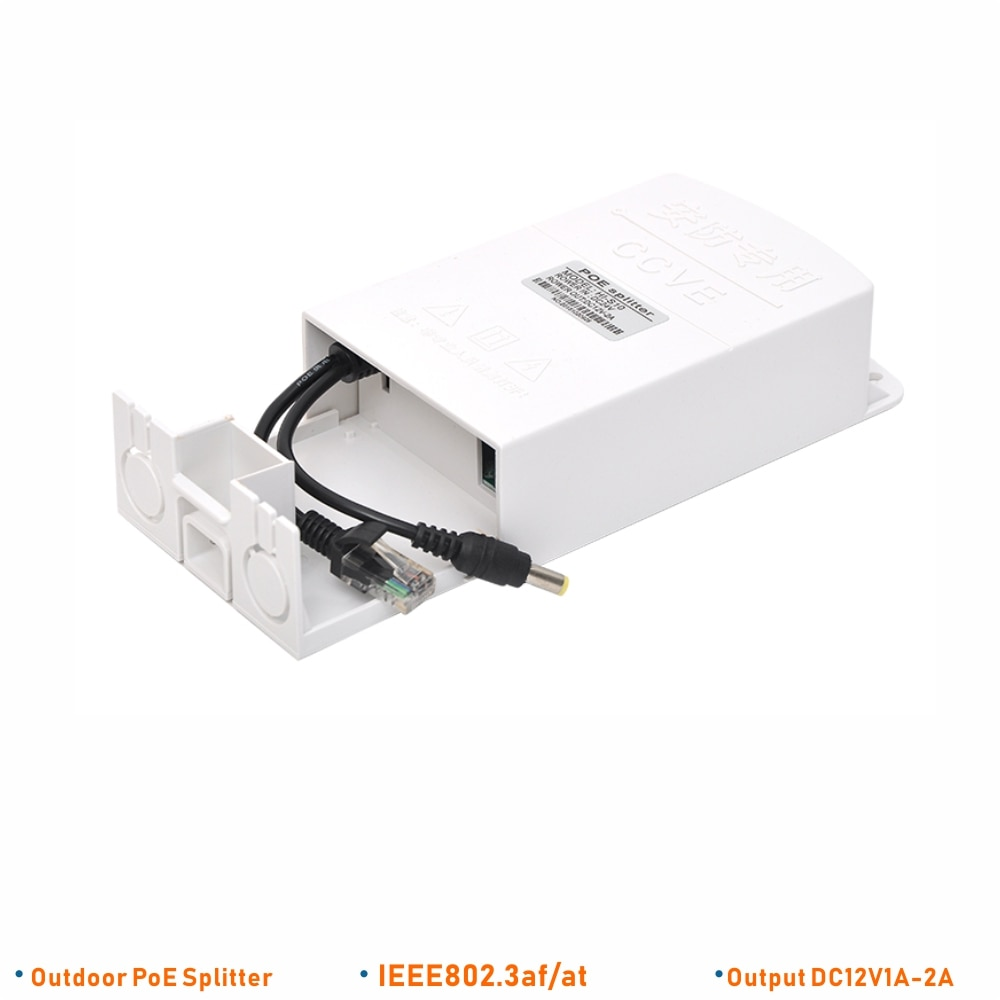 El divisor ENSTER IEEE802.3af/at Outdoor PoE permite que la cámara IP no PoE funcione con el interruptor PoE, NVR PoE a través del Cable LAN de 100 metros
