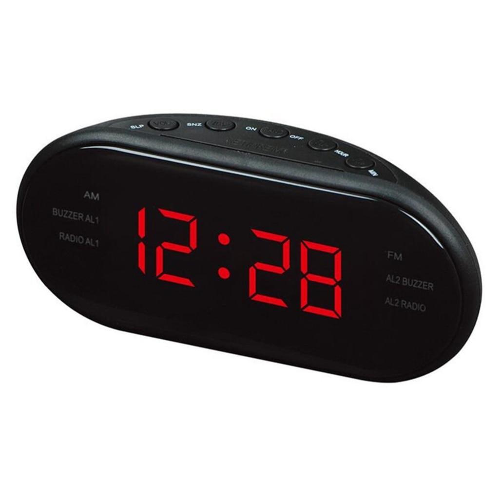 Hot VST VST-902 Modern Fashion Black AM/FM Led Clock Radio Electronic Desktop Alarm Clock Digital Table Clocks Snooze