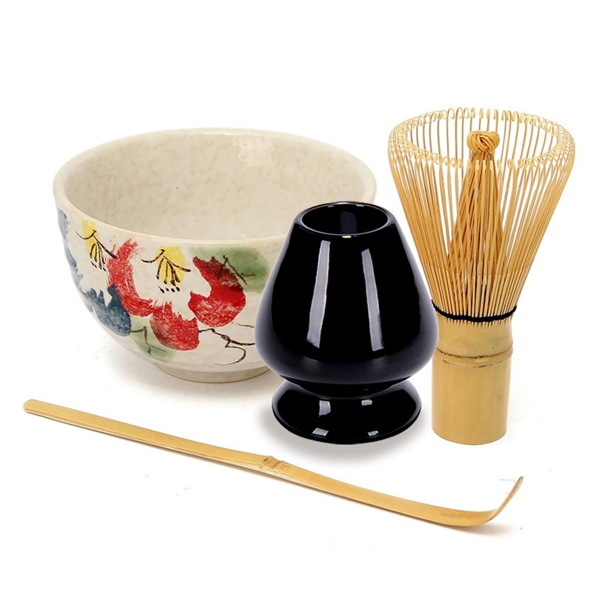 4 pçs/set Serviço de Chá de Bambu Natural Matcha Chá Verde Em Pó Whisk Colher Tigela de Cerâmica Conjunto Teaware Japonês Cerimônia