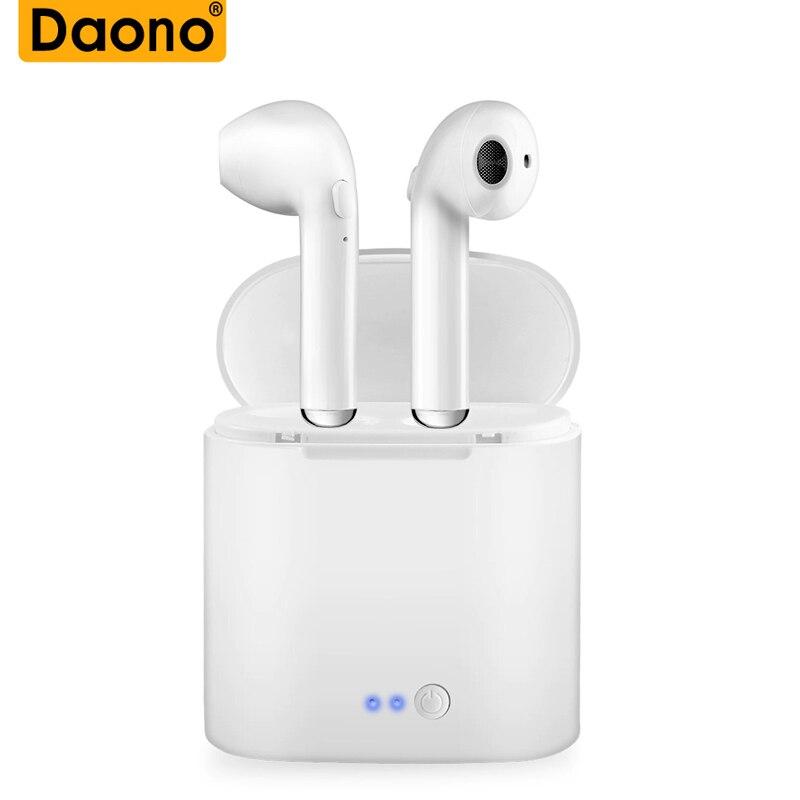 DAONO i7 TWS gemelos auriculares inalámbricos Bluetooth V4.2 Stereo Auriculares auriculares para iPhone 7 plus 7 6s 6 Plus Samsung S8 plus LG
