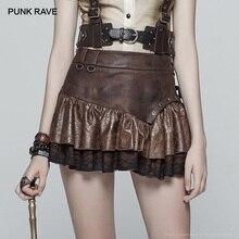 PUNK RAVE New Casual Fashion Steampunk Ruffles Lace Sexy Pu Leather Punk A-Line Women Miniskirt Party Bubble Goth Mini Skirt