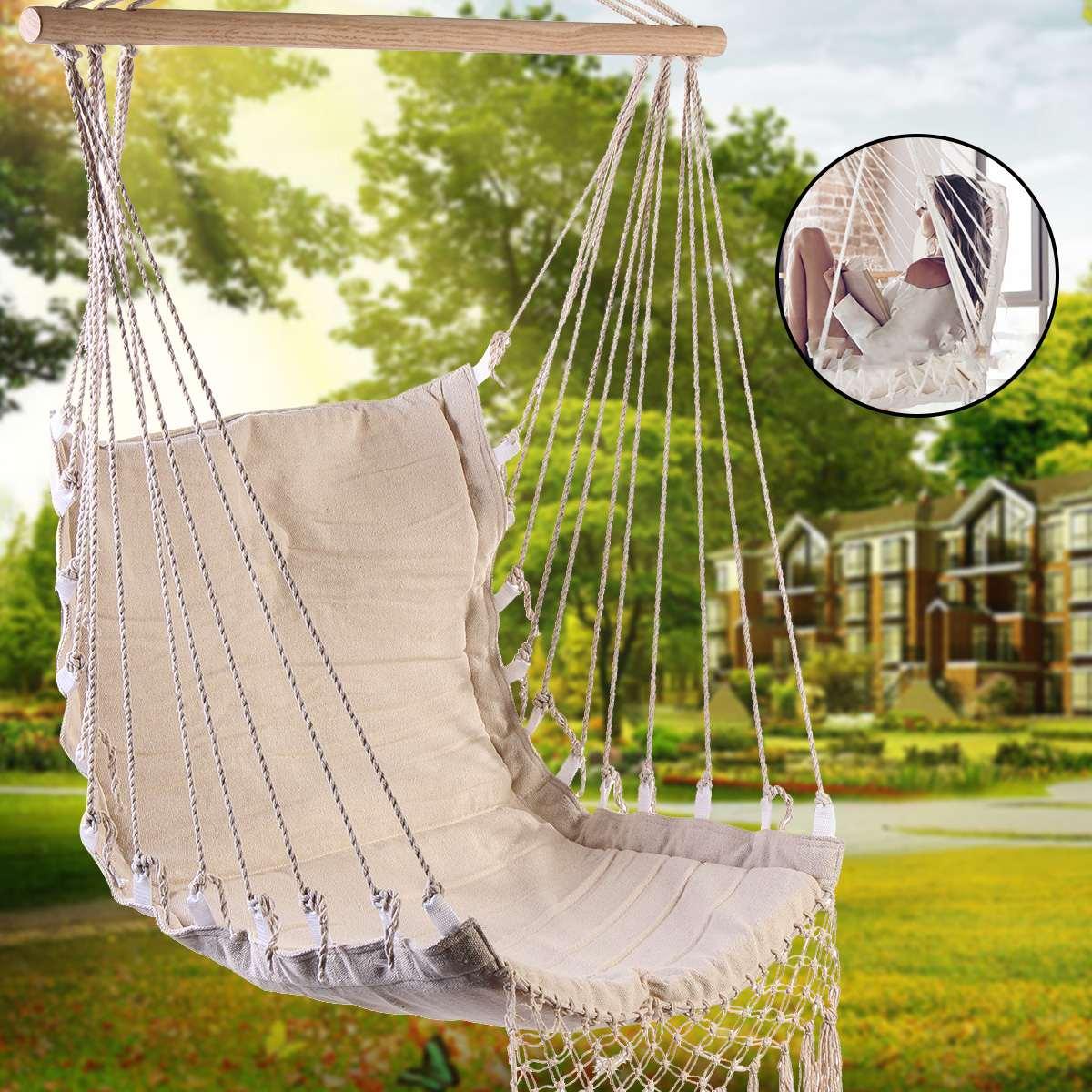 Lona de algodão rede cadeira balanço pendurado cadeira faculdade dormitório cadeira interior ao ar livre jardim crianças adulto mobiliário pendurado balanço
