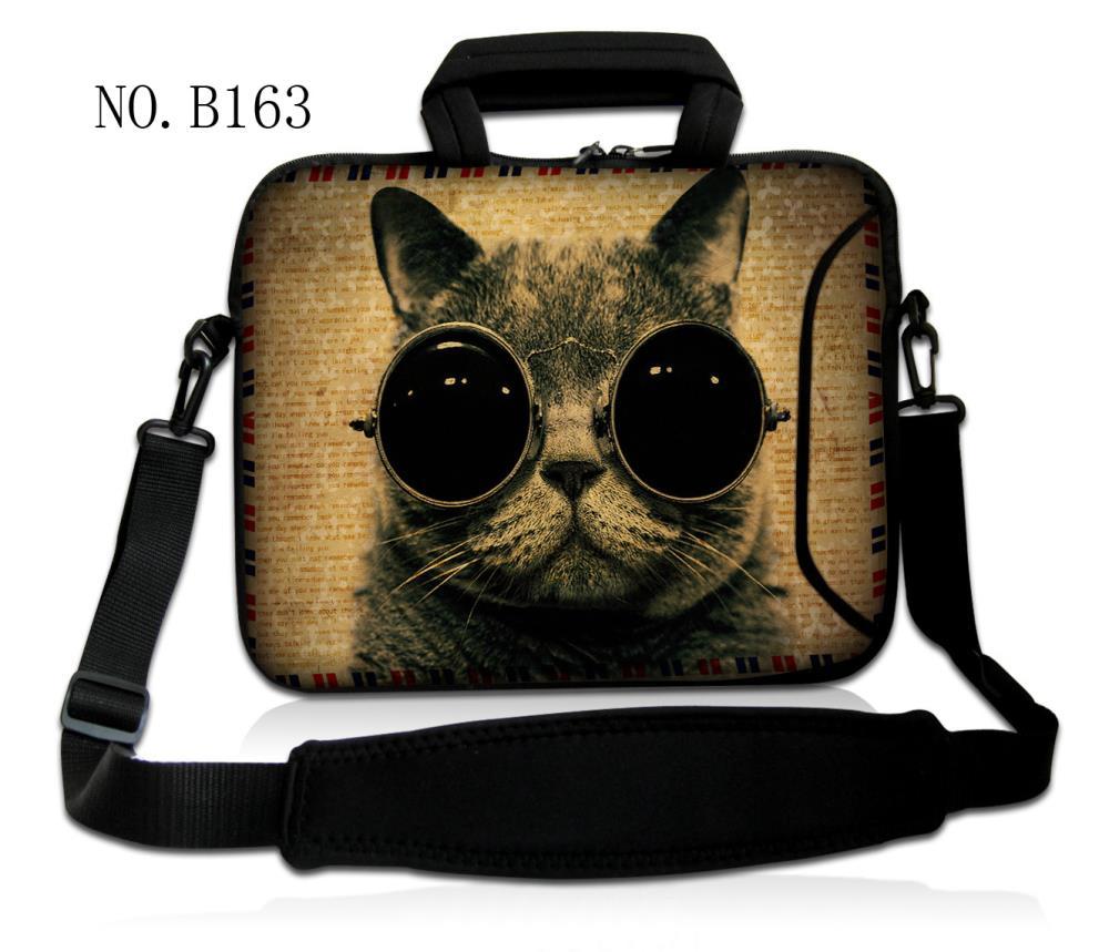 "Fashion Sunglasses Cat Shoulder Case Cover Handle Bag Sleeve Pouch For 17.3"" 15.6"" 14"" 13.3"" 11.6"" 10.1"" Laptop PC"