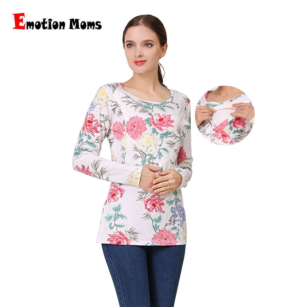 Emotion Moms New Long Sleeve Shirt Maternity Clothes Lactation Tops Breastfeeding Clothing for Pregnant Women shirts enlarge