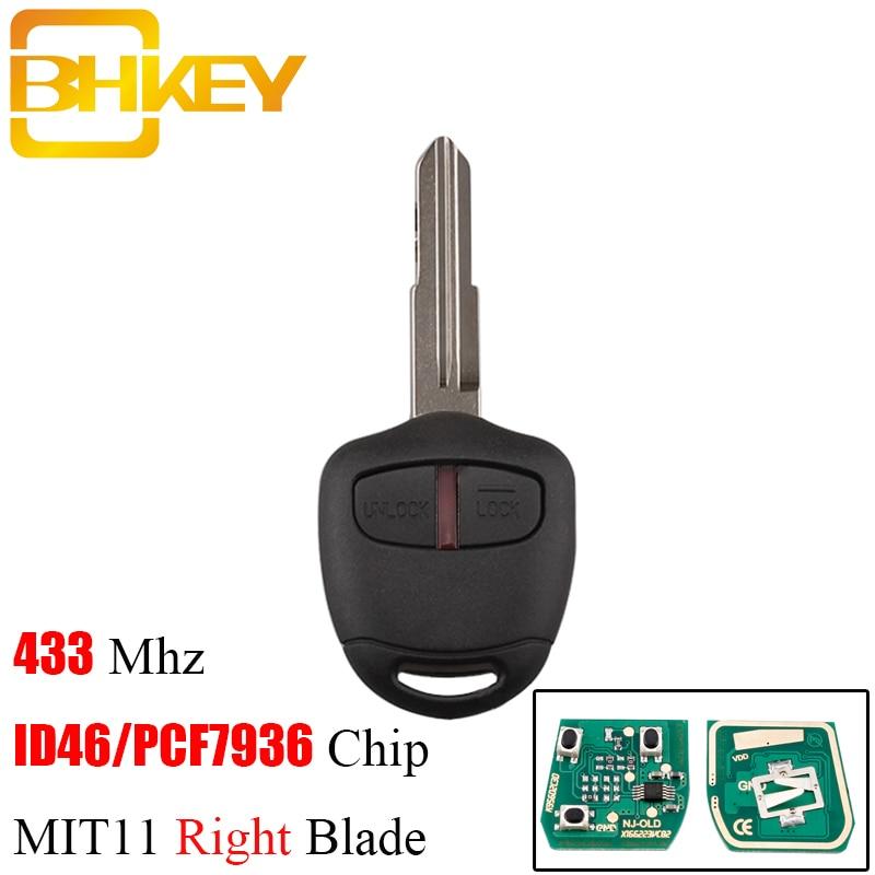 BHKEY 2/3Buttons Remote key For Mitsubishi 433Mhz Transponder Chip ID46 For Mitsubishi L200 Shogun Pajero Triton Key Fob MIT11