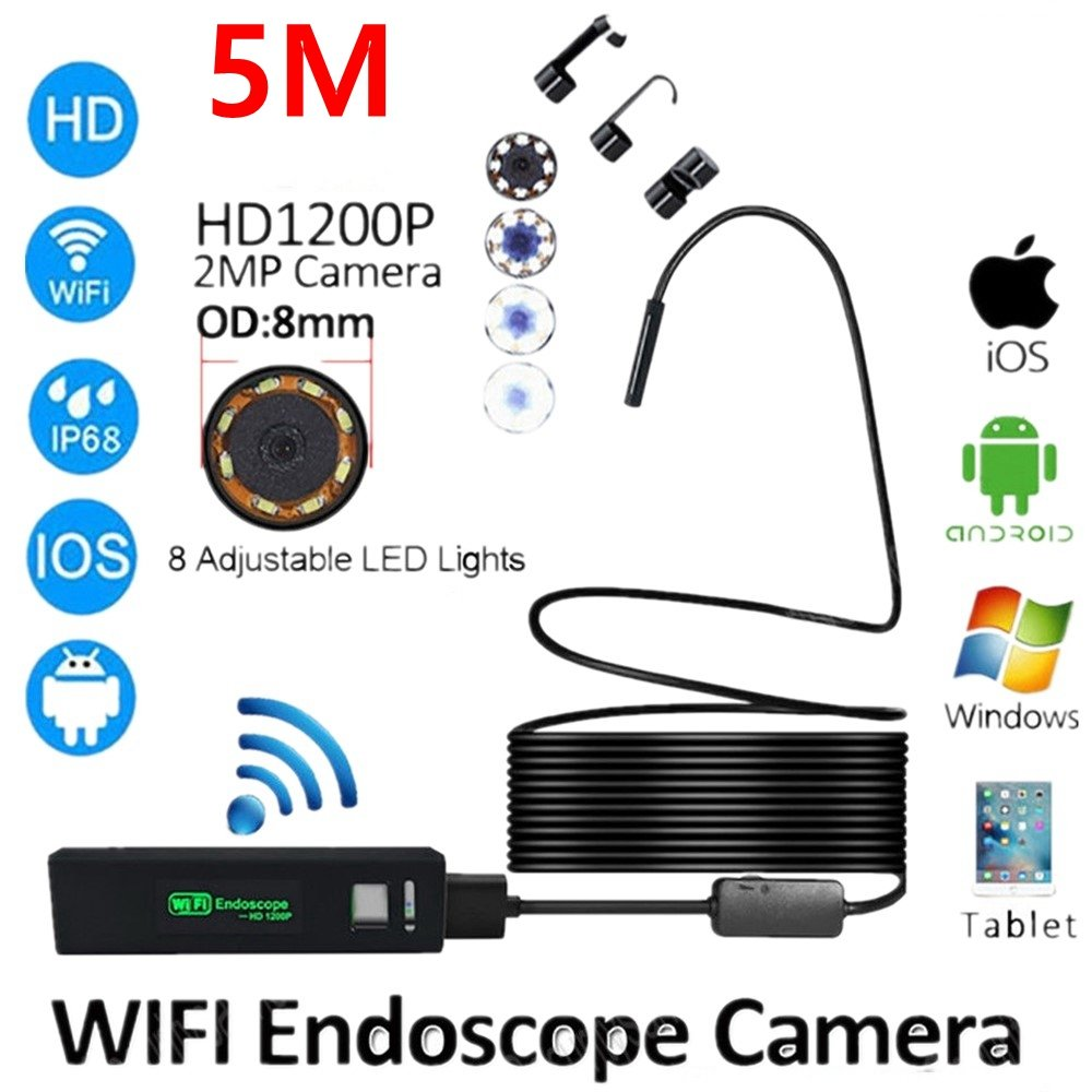 2/5/10M WIFI المنظار كاميرا HD 1200P 8 مللي متر 8 LED البسيطة للماء الصلب كابل التفتيش كاميرا Borescope ل فون PC IOS