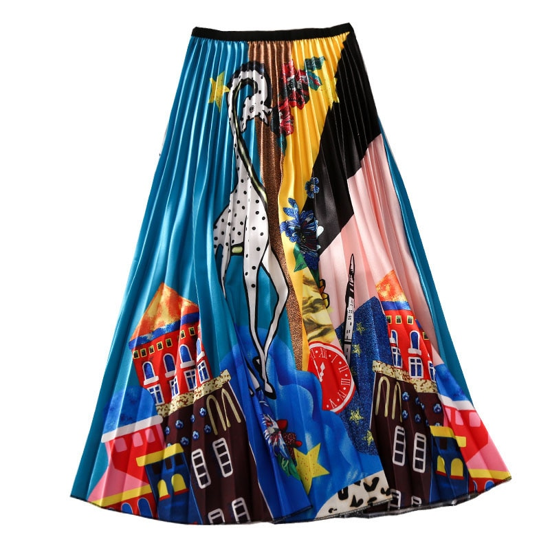 New Fashion High Waist Pleated Skirt Women Spring Summer Skirts Womens Elastic Waist A Line Long Skirts For Women WD001