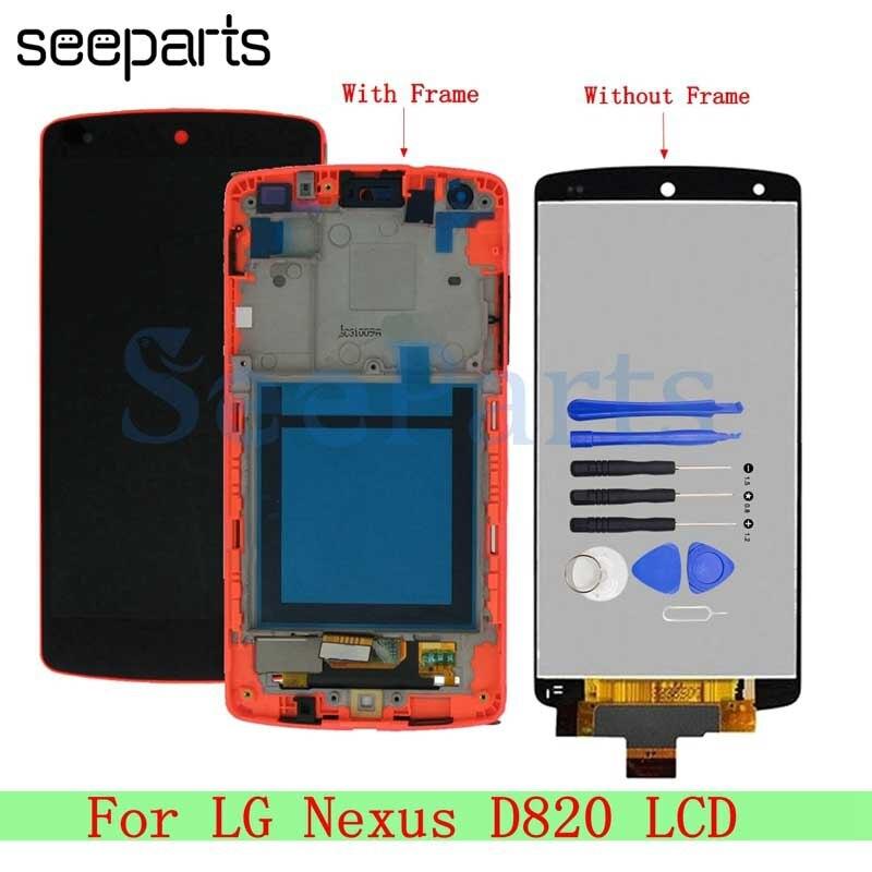 "Para lg google nexus 5 d820 d821 display lcd tela de toque digitador assembléia com quadro 4.95 ""para lg nexus 5 d820 lcd substituição"