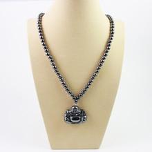 Collier de perles rondes en hématite magnétique avec pendentif bouddha collier pendentif noir bijoux religieux