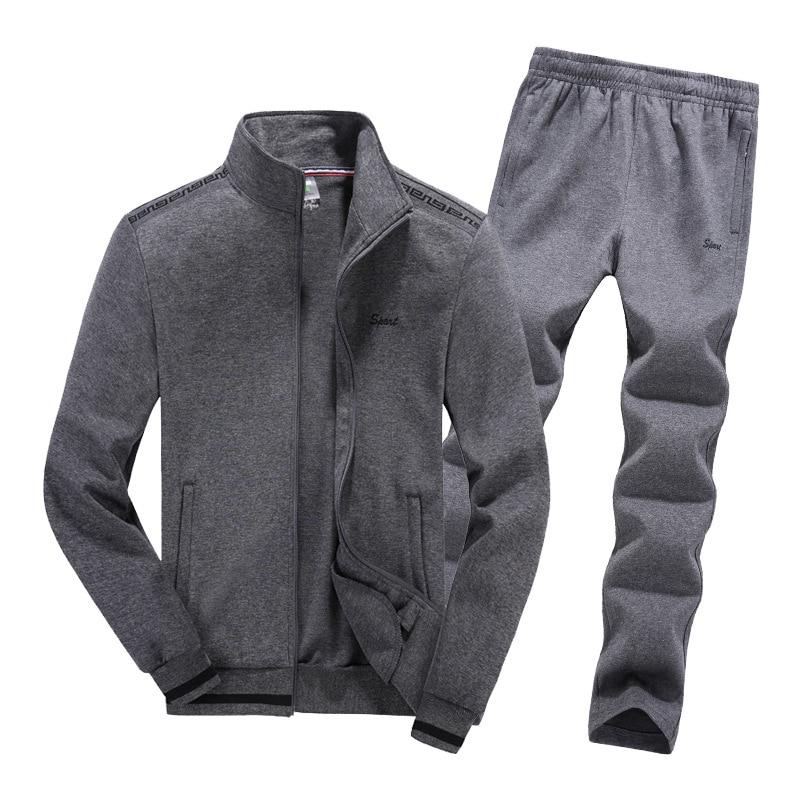 AmberHeard 2020 nueva moda Primavera otoño hombres traje deportivo chaqueta + pantalón chándal conjunto de dos piezas chándal para hombres ropa L-8XL