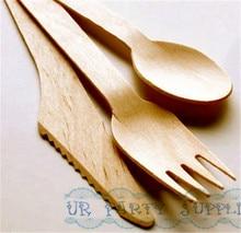 Cuillères/fourchettes/couteaux en bois   120 pièces, ustensiles jetables en bois naturel pour enfants, fête danniversaire sucre corps cuillères à récurer ustensiles de table