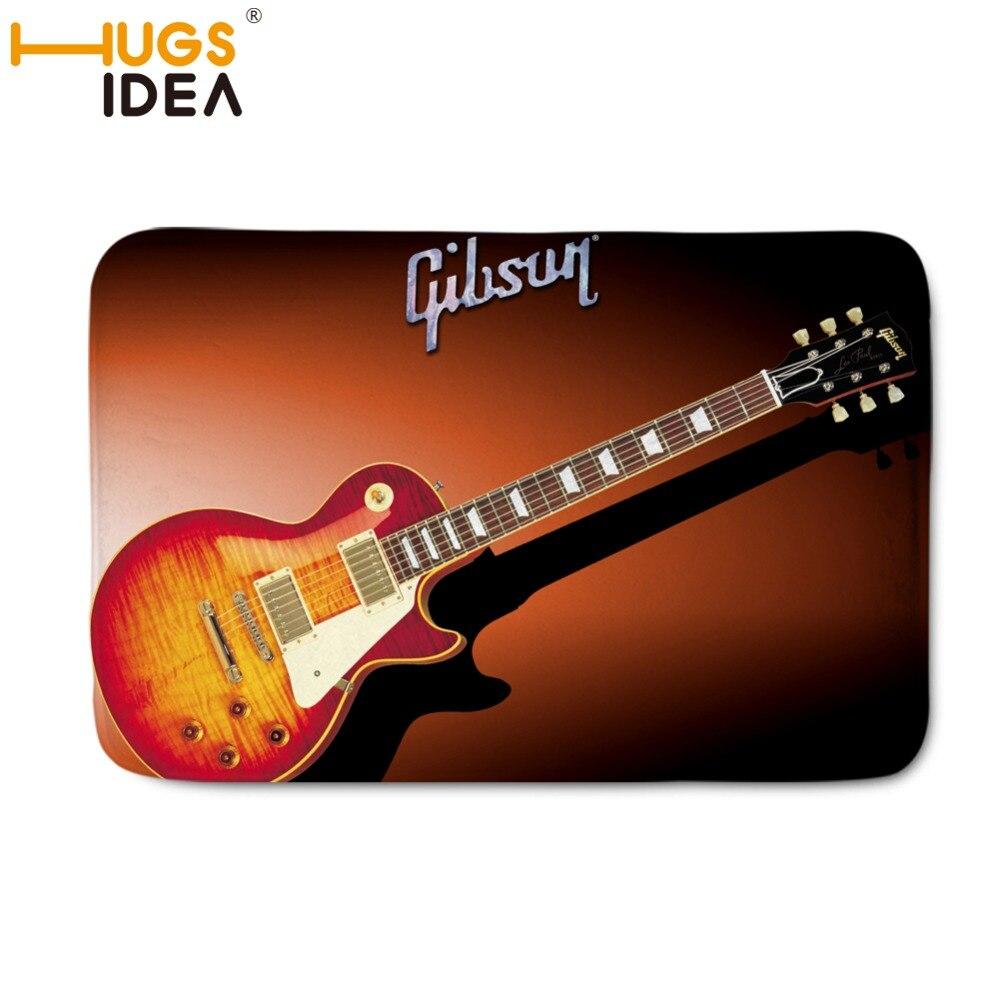 HUGSIDEA 40*60cm Gibson Les Paul Guitar Doormat Non-Slip Rubber Black Rugs and Carpets for Home Living Room Mats Bedroom Bedside