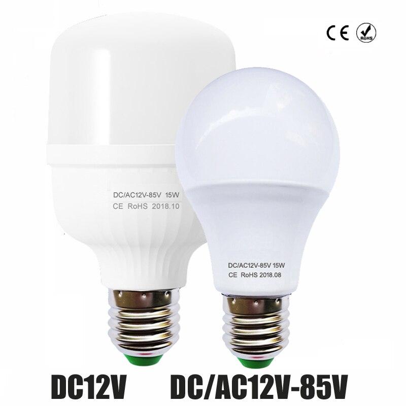 Bombilla LED 6W 9W 12W 15W DC12V lámpara LED CC/CA 24V 36V 48V 3W E27 Led lámpara de ahorro de energía 12V bombilla de iluminación LED
