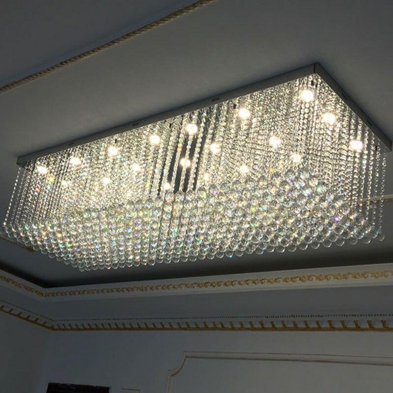 Lámpara colgante de cristal rectangular, lámpara colgante de cristal, Bombilla regulable para sala de estar, villa, pasillo, lámparas decorativas