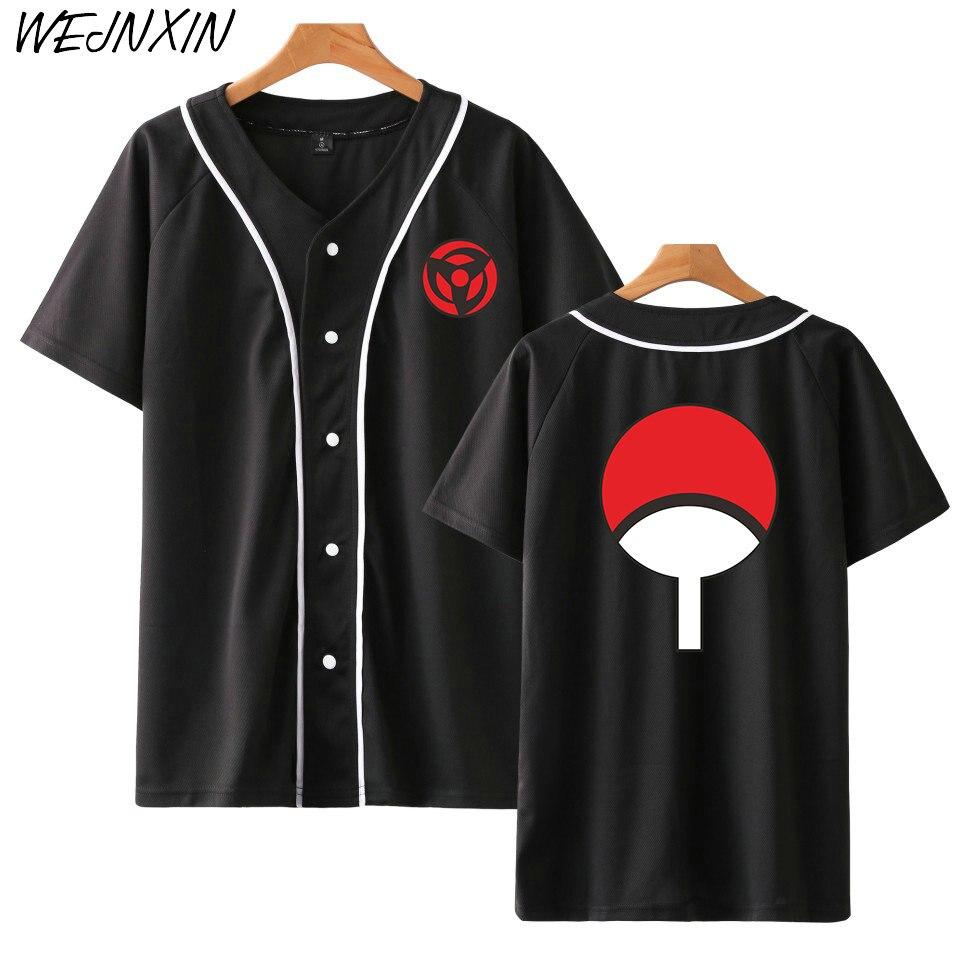 ¡Novedad! Camisa de béisbol WEJNXIN de Anime, insignia de Naruto Clan Uchiha estampada, chaqueta de manga corta, ropa informal estilo Hip Hop de alta calidad