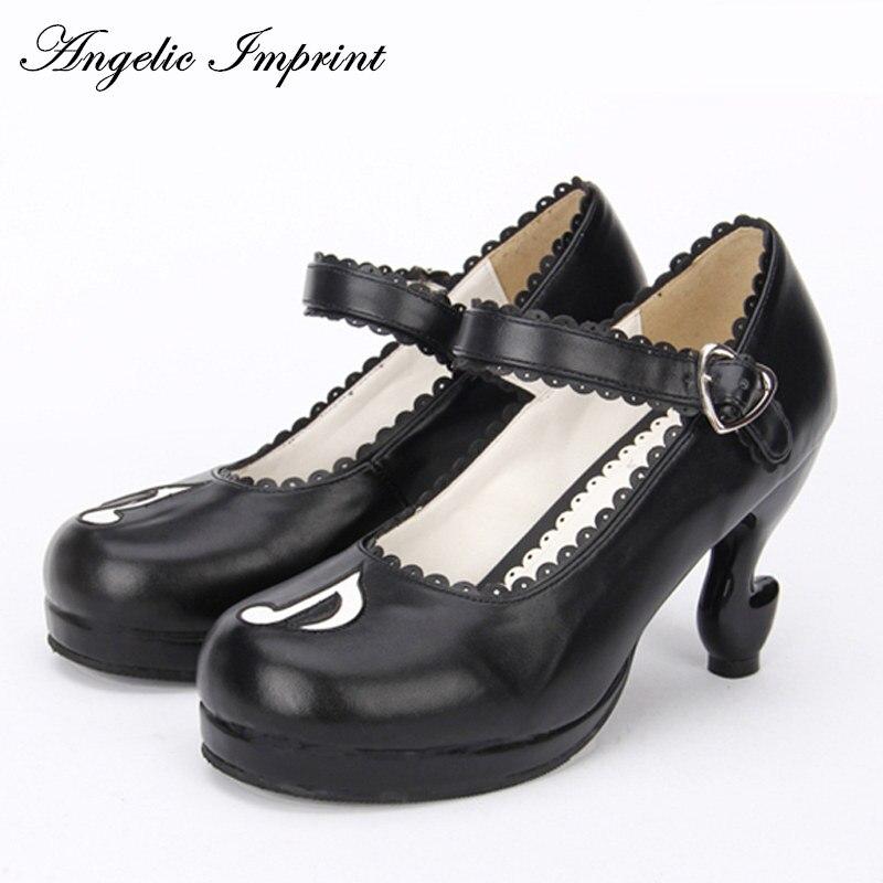 Personalidade nota musical fantasia salto alto bombas lolita sapatos princesa menina mary jane sapatos