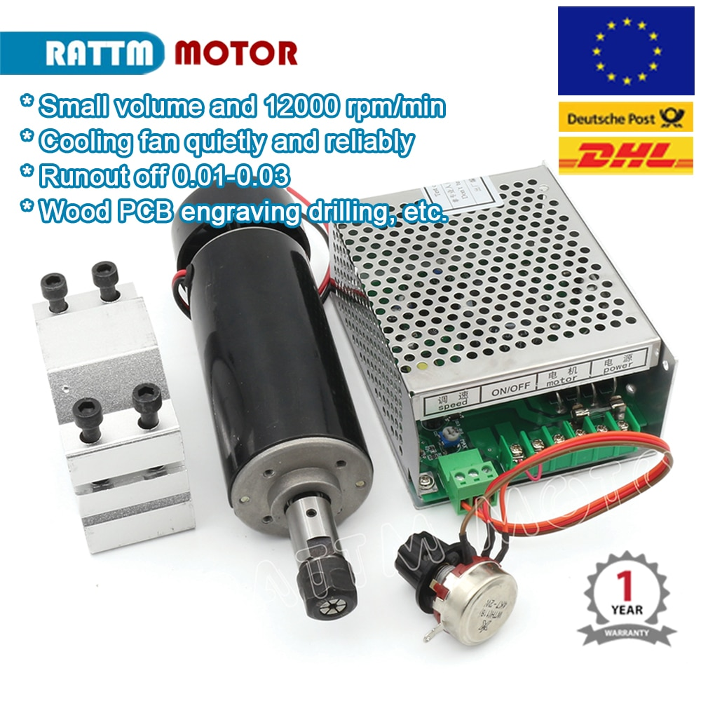 Air cooled spindle motor Kit 500W ER11 220V 12000rmp + Speed Controller + 52mm spindle bracket for CNC Router Machine Tool
