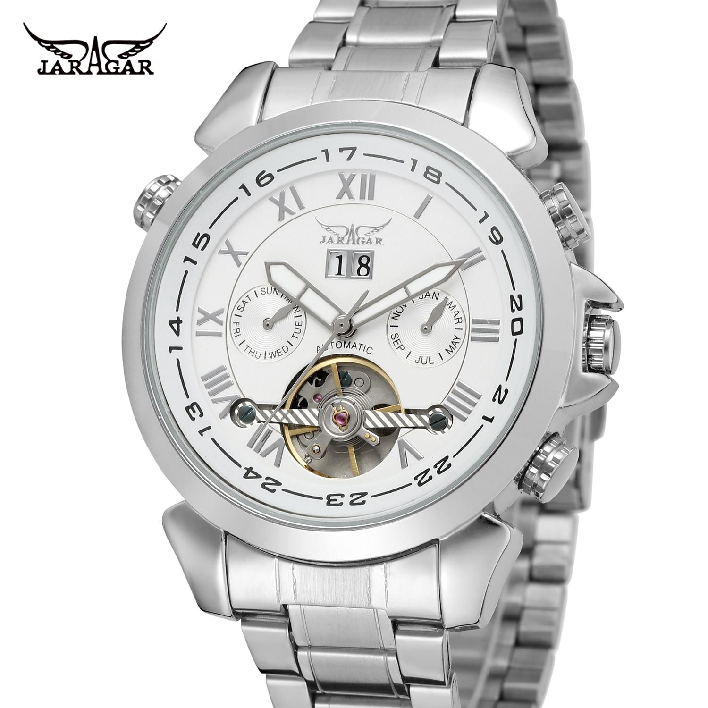 Jaragar, marca Top, serie Aviator, plata, acero inoxidable, diseño Toubillion, Dial a escala, reloj deportivo automático de lujo para hombres