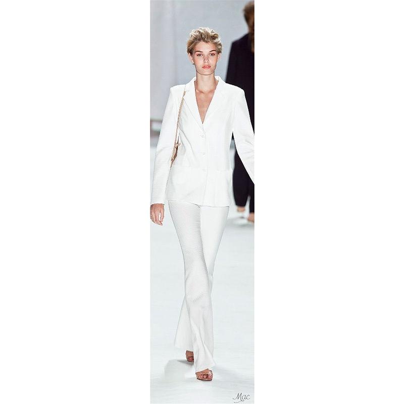 Nuevo traje de negocios blanco para mujer conjunto de 2 piezas Blazer Formal para oficina chaqueta + Pantalones B42