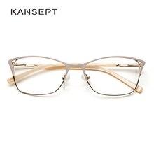 Metal Women Cat Eye Optical Glasses Frame Clear Beautiful Fashion Transparent Grade Armacao De Eyeglasses For Women#TWM7554C1