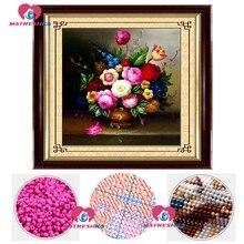 Bricolage point de croix perles broderie fleur vase perles décor à la maison artisanat couture accessoires perle pleine perles broderie