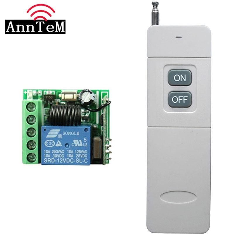 Interruptor de Control remoto de largo alcance de 3000m DC 12V 1 CH 10A relé receptor transmisor de luz de aprendizaje interruptor inalámbrico 433MHZ