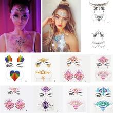 Autocollants de tatouage temporaire 3D paillettes acrylique visage bijoux gemmes Festival fête corps yeux poitrine décor beauté maquillage visage corps Art