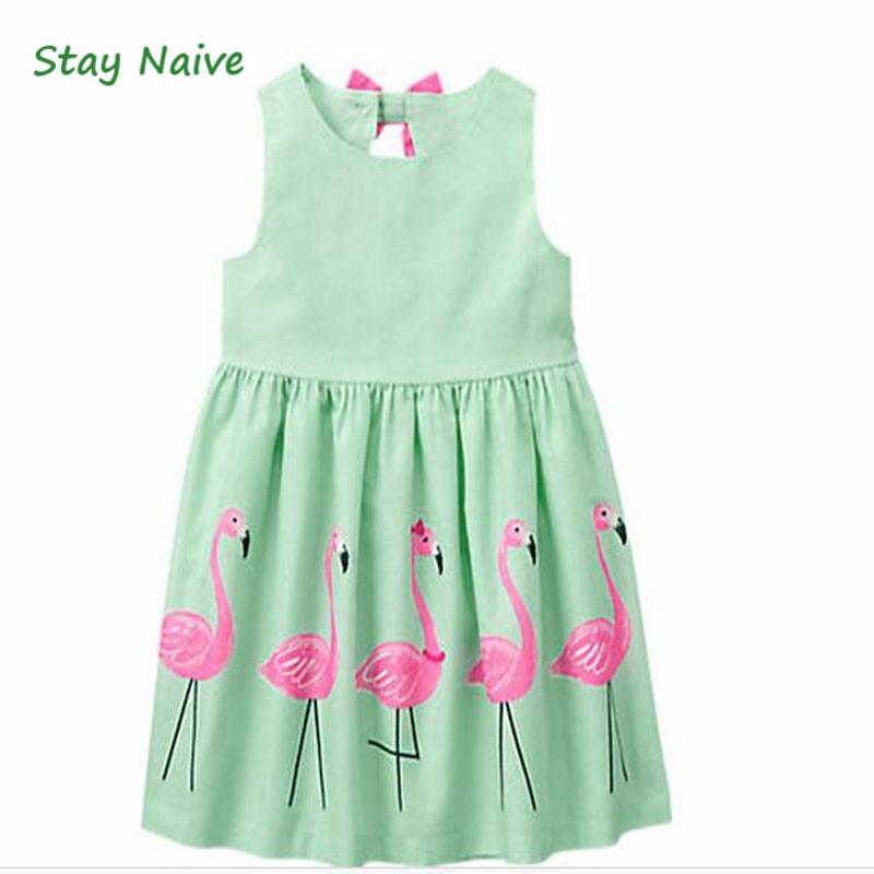Stay Naive Girl Clothing Cartoon Print Bowknot Childrens Clothing 2017 New Girls Dress Up Children