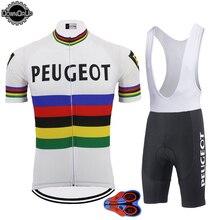 Rétro cyclisme jersey ensemble hommes à manches courtes vêtements de vélo jersey ensemble cuissard à bretelles gel Pad 9D ropa ciclismo cyclisme vêtements DOWNORUP