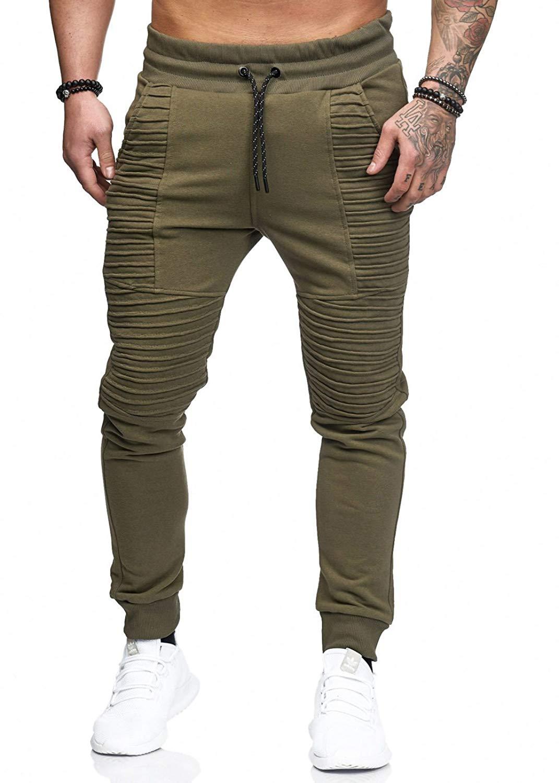 Pantalones de chándal para Hombre, Pantalones casuales para Hombre, Pantalones de personalidad para Hombre, Pantalones de dos bolsillos encaje plisado, Pantalones hasta la cintura