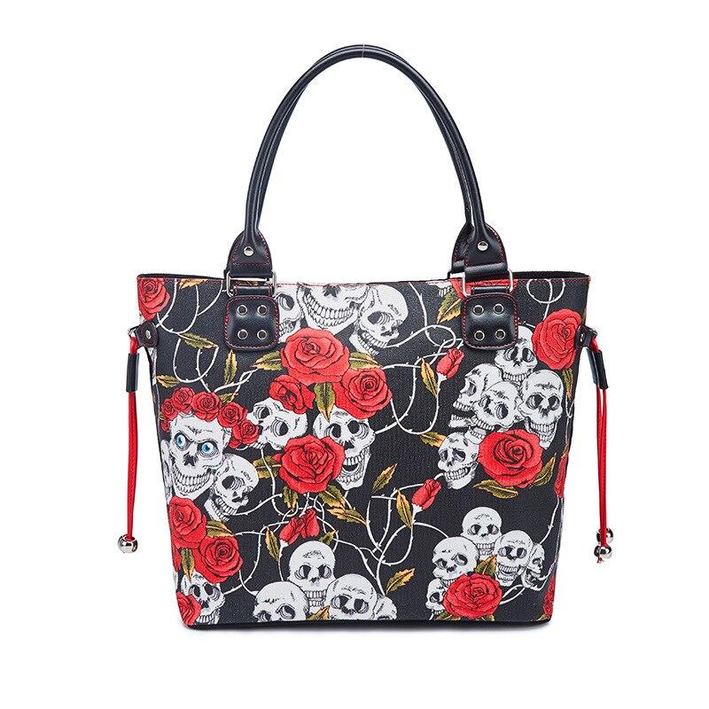 Bolso de lujo JIEROTYX 2020 de marca famosa, bolso de lona con calavera Rosa esqueleto humano, bolso de mano para mujer, grande gótico Vintage