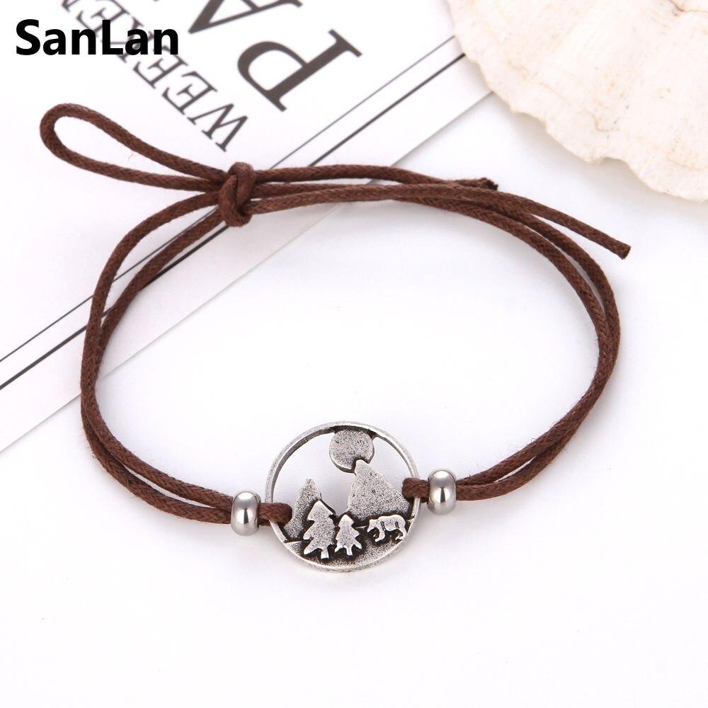 SanLan 1 pcs montanhas estão ligando cordilheira urso pulseira pulseiras jóias wanderlust