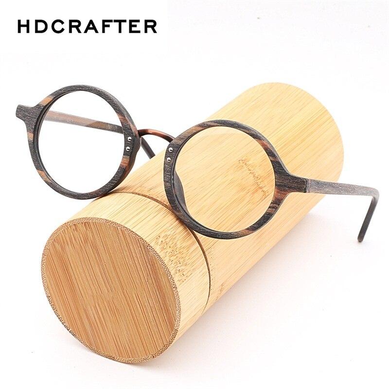 HDCRAFTER Vintage Wood Round Eyes Glasses Frame Myopia Frames Clear Lens for Women Wooden Reading Clear Glasses Eyeglasses