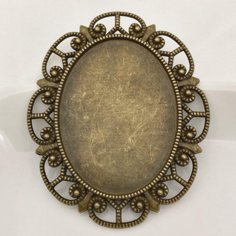 20 piezas/lo 47*56mm ajuste 30*40mm aleación de Zinc antiguo bronce flor en blanco bandeja base de joyería camafeo cabujón bisel colgante configuración