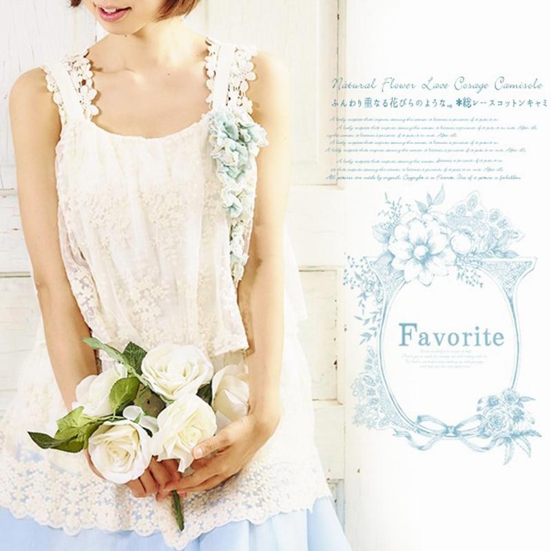 Verano Mori chica encaje Blusa con lazo mujeres Floral bordado espagueti correas pantalón corto casual manga sólida blusas V290