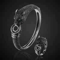 zlxgirl jewelry jet cubic zircon leopard animal bridal bangle jewelry europe design copper bracelet womens size braceletbangle