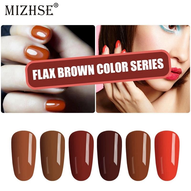 MIZHSE Soak Off UV Nail Gel Polish Brown Color Gel Varnish UV Gel Nail Polish Long Lasting primer Nail for Design Manicure