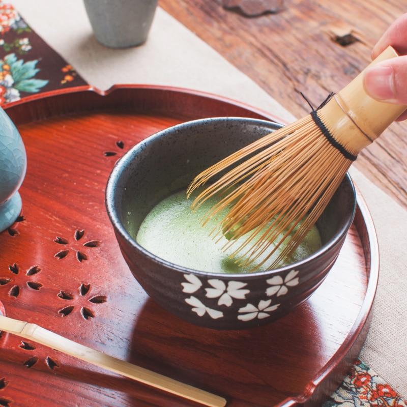 Juego de té Matcha japonés de bambú Natural, juego de té elegante tradicional Matcha, juego de regalo, batidor, cuchara, cuenco de Matcha ceremonial, soporte para batidor