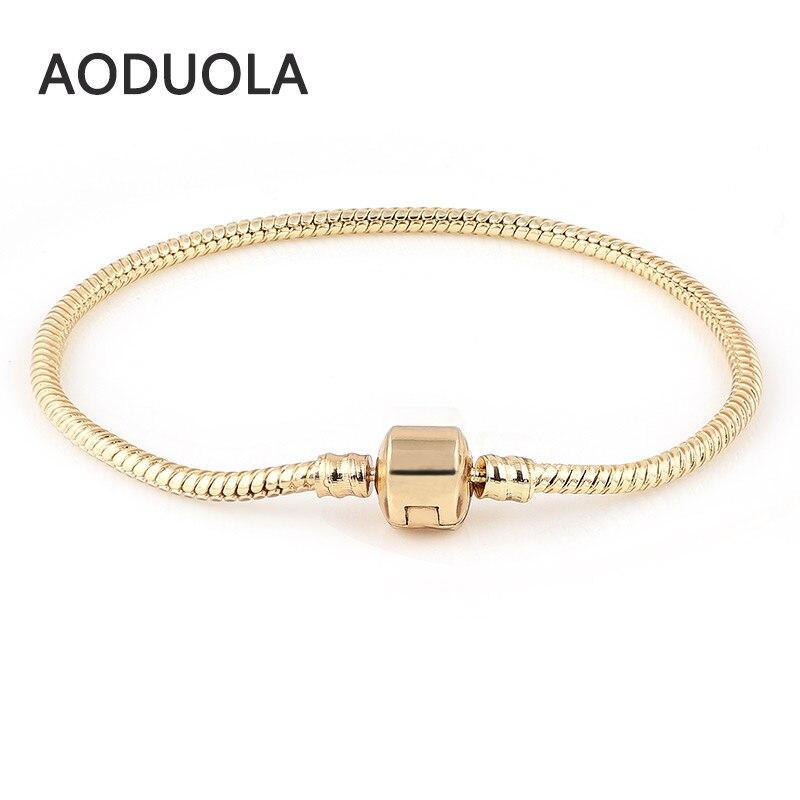 Chamilia bilezik altın renk yılan zincir Charm Aoduola Charm bilezik avrupa Murano boncuk DIY çek cam boncuk
