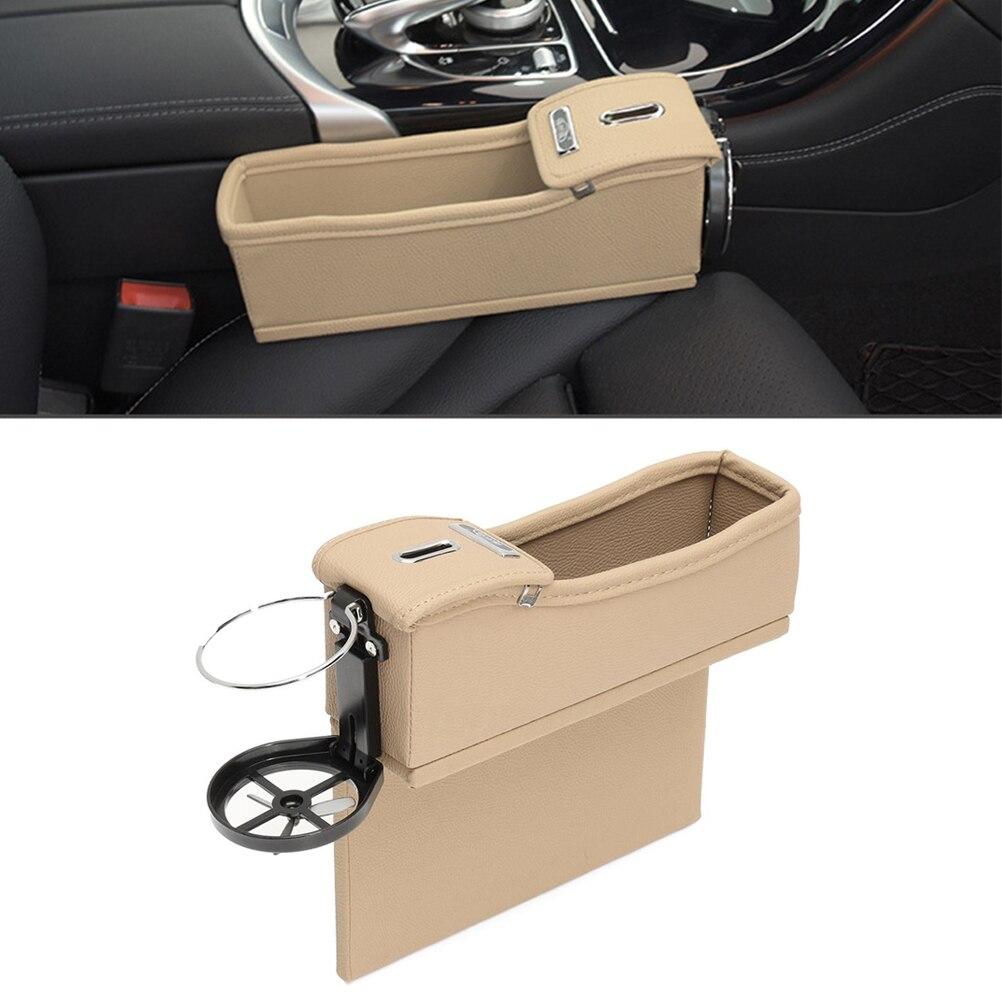 Asiento de coche multiusos caja de almacenamiento de cuero PU asiento de máquina de vehículo relleno de huecos de monedas colector de la taza titular para el conductor (Host Beige)