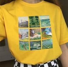PUDO-JBH Vintage Monet Art Oil Painting Women TShirt New Summer Fashion Soft Grunge Aesthetic Printed O-Neck Cool Harajuk