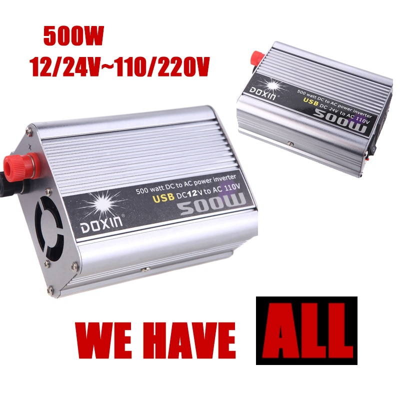 Convertidor de coche de 500W 24V CC a AC 220V, adaptador de inversor de corriente plateado modificado, salida USB 5V, cargador de fuente de alimentación para vehículo