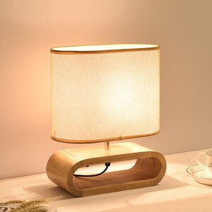 Japan Style Wooden Table Lamp for Living Room Study Room Bedroom Light Night Reading Desk Lighting Luminaria Fabric Lampshade