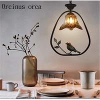 American style rural bird chandelier living room restaurant bar North European retro creative iron Chandelier free shipping