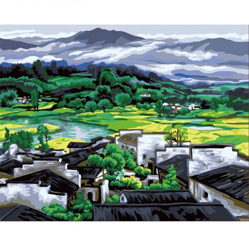 DIY cyfrowe malowanie przez numery pakiet miasteczku na południu obraz olejny mural zestawy kolorowanka obraz na ścianie obraz prezent bezramowe